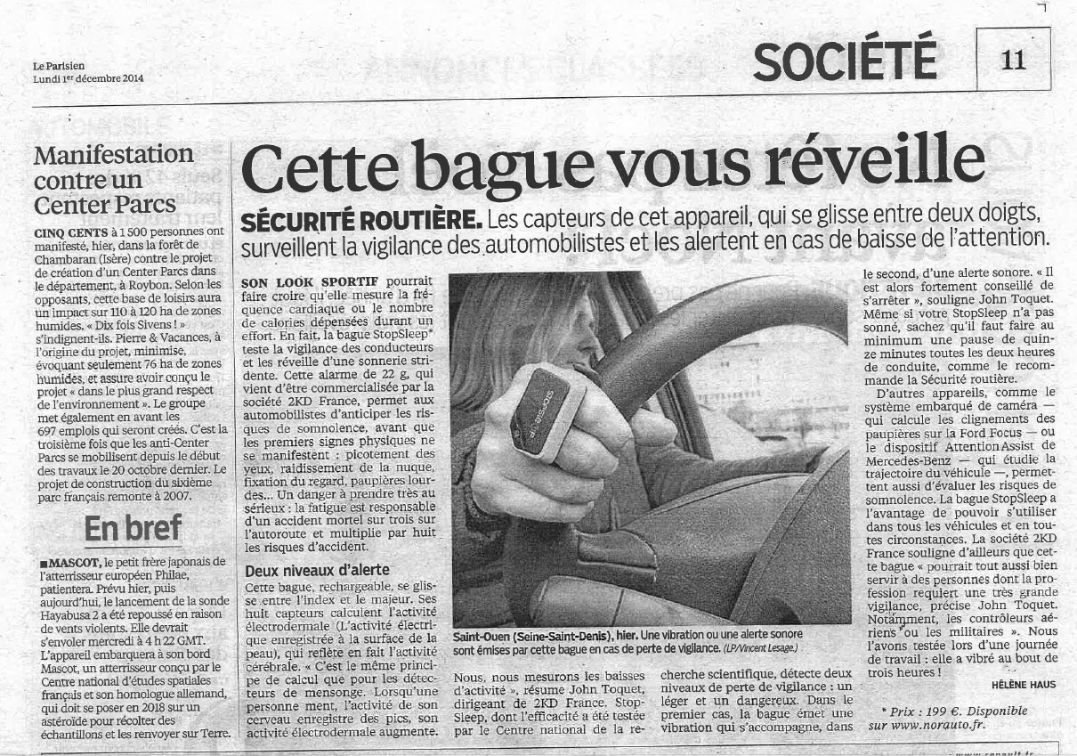 StopSleep in the newspapers : Le parisien